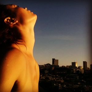 Greeting the sun on a rooftop in San Francisco, Labor Day Weekend 2015