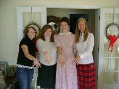 Rachael, Meredith, Charis, Caroline (Charis' mother) - all Meredith College alumnae