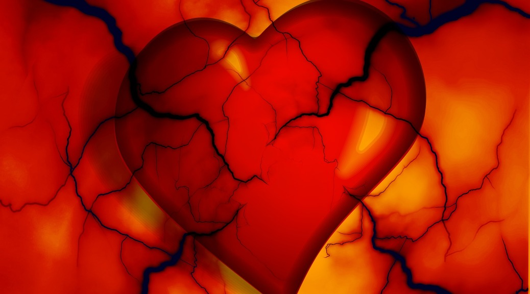 A graphic of a red heart on a red, yellow, and orange background. Dark veins of different sizes are entering the picture from all sides and partially obstructing the heart