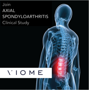 "Black background. Graphic of a skeleton with see-through skin showing redness at the lower spine area. ""Join Axial Spondyloarthritis Clinical Study."" ""Viome"""